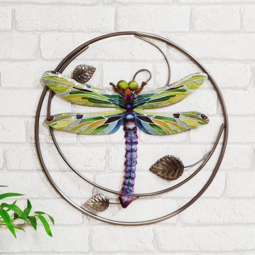 Kaleidoscope Dragonfly Metal Wall Art Ornament Sculpture For Home & Garden